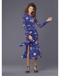 Diane von Furstenberg - Long-sleeve Overlay Mesh Dress - Lyst