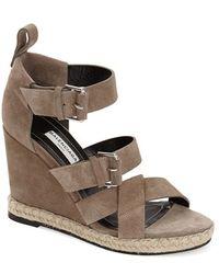 Balenciaga Suede Espadrille Wedge Sandal brown - Lyst