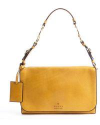 Gucci Tan Leather Logo Stamp Shoulder Bag - Lyst
