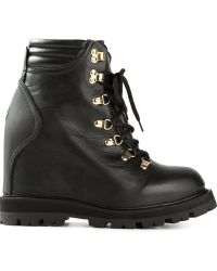 Moncler Concealed Wedge Laceup Ankle Boots - Lyst