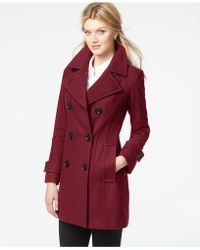 Anne Klein - Double-breasted Long Peacoat - Lyst