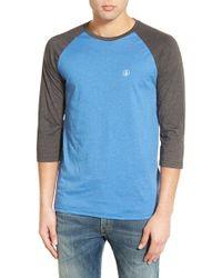 Volcom | Three Quarter Raglan Baseball T-shirt | Lyst