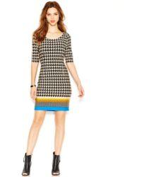 Jessica Simpson Elbow-sleeve Houndstooth Sheath Dress - Lyst