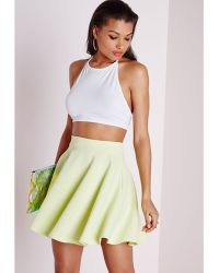 Missguided Textured Skater Skirt Acid Green - Lyst
