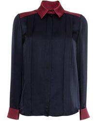 Matthew Williamson Jena Contrast Silk Tuck Front Shirt - Lyst