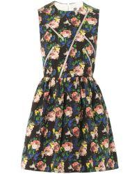 MSGM Floral-Print Cotton Dress - Lyst