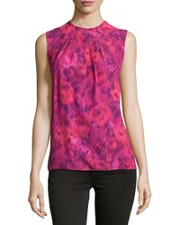 Michael Kors Jewel-neck Pleated  Printed Shell - Lyst