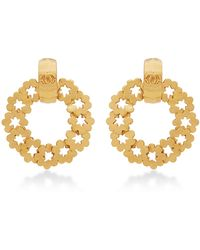 What Goes Around Comes Around Chanel Gold Paris Round Earring - Lyst