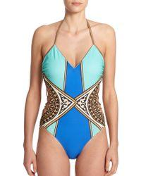 Gottex One-Piece Santorini Mixed-Print Swimsuit - Lyst