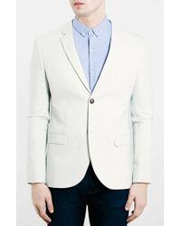 Topman Ice Grey Skinny Fit Jersey Blazer - Lyst