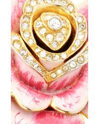 Carole Tanenbaum - 1940S, Mixed Pink Enamel Pot Metal Rose Pin With Center Diamante - Lyst