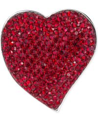 Carolee Silver-Tone Red Crystal Heart Pin - Lyst