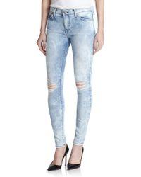 Current/Elliott City Distressed Acid-washed Skinny Jeans - Lyst