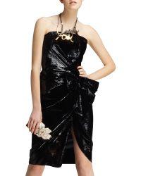 Lanvin Bow-waist Strapless Liquid Velvet Dress - Lyst
