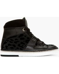 Jimmy Choo Black Leopard Barlowe High_top Sneakers - Lyst