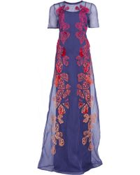 Matthew Williamson Ombre Wing Organza Embroidered Gown blue - Lyst
