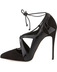 Alejandro Ingelmo Ilaria Patent & Suede Lace-Up Point-Toe Pump - Lyst