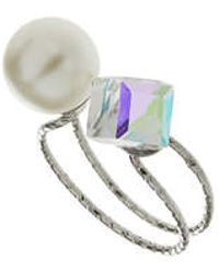Topshop Pearl And Square Stone Open Ring silver - Lyst