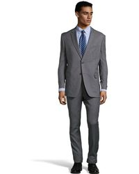 Tommy Hilfiger Grey Crosshatched Wool 2-button Nathan Suit with Pleated Pants - Lyst