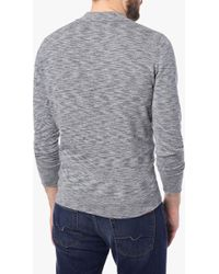 7 For All Mankind   Long Sleeve Knit Polo Sweater In Heather Navy   Lyst