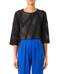 Tibi Embroidered Wool-blend Cropped Top - Lyst