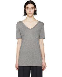T By Alexander Wang Heather Grey Classic Pocket T_Shirt gray - Lyst