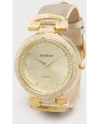 Bebe - Leather Strap Bezel Watch - Lyst