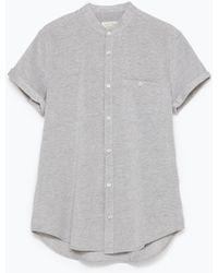 Zara Mao Collar Shirt gray - Lyst