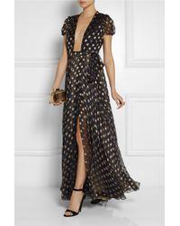 Diane Von Furstenberg Silkblend Chiffon Wrap Gown - Lyst
