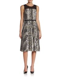 Adrianna Papell Snakeskin Printed Pleated Dress - Lyst