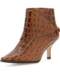 Donald J Pliner Loli Crocodile-Print Ankle Boot brown - Lyst