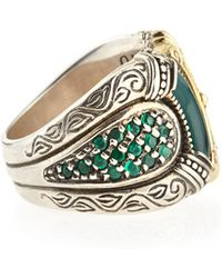 Konstantino Silver & Gold Green Agate Band Ring - Lyst