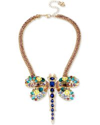 Betsey Johnson | Gold-tone Multi-stone Dragonfly Pendant Necklace | Lyst