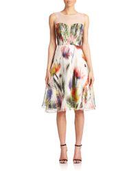 Badgley Mischka Illusion Floral Silk Cocktail Dress white - Lyst