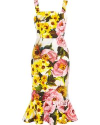 Dolce & Gabbana Floral-Print Textured Stretch-Cotton Dress - Lyst