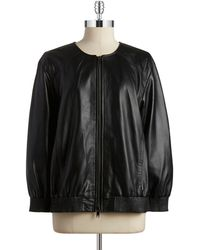 DKNY Zip Front Leather Bomber Jacket - Lyst