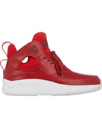 Article No. - Stamped Leather & Neoprene Mid Sneakers-Red Size 10 - Lyst
