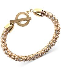 Anne Klein - Gold Tone And Pearl Tubular Bracelet - Lyst