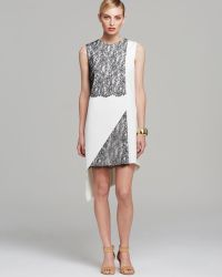 Robert Rodriguez  Sleeveless Geo Lace Asymmetric Shift Dress black - Lyst