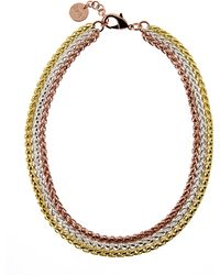 1AR By Unoaerre | Gold-Plated Tri-Tone Chain Necklace | Lyst