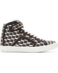 Pierre Hardy Black and White Cube Print High_top Sneakers - Lyst