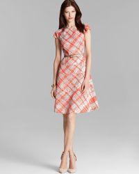 Anne Klein Dress Cap Sleeve Textured Plaid Belted Swing - Lyst
