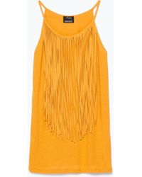 Zara T-Shirt With Fringes - Lyst