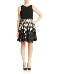Eliza J Mixed Media Fit And Flare Dress - Lyst