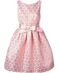 P.A.R.O.S.H. Belted Flared Floral Dress - Lyst