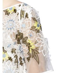 Erdem | 'noelle' Floral Embroidery Silk Organza Trapeze Top | Lyst