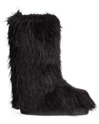 H&M Fake Fur Boots - Lyst