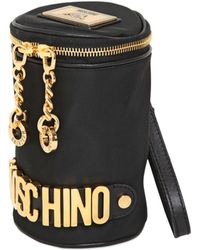 Moschino Rounded Cotton Clutch with Logo - Lyst