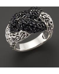 John Hardy Classic Chain Sterling Silver Lava Small Braided Ring Black Sapphire - Lyst