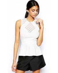 TFNC Textured Peplum Top with Lace Panels white - Lyst